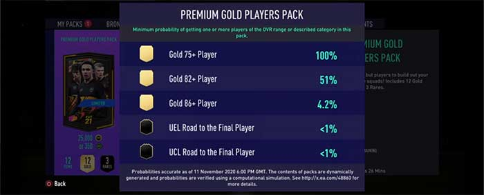 FIFA 21 Pack Odds Guide - Pack Probability in FUT