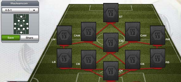 FIFA 13 Ultimate Team Formations - 4-5-1