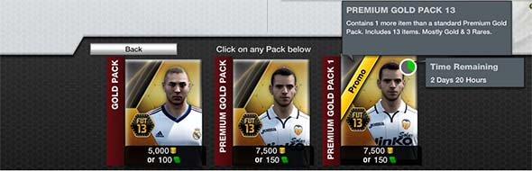 Buying FIFA 13 Ultimate Team Packs