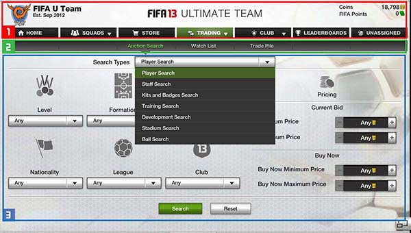 FUT 13 Web App - Search Menu