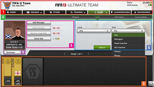 FUT 13 Web App - Staff Cards