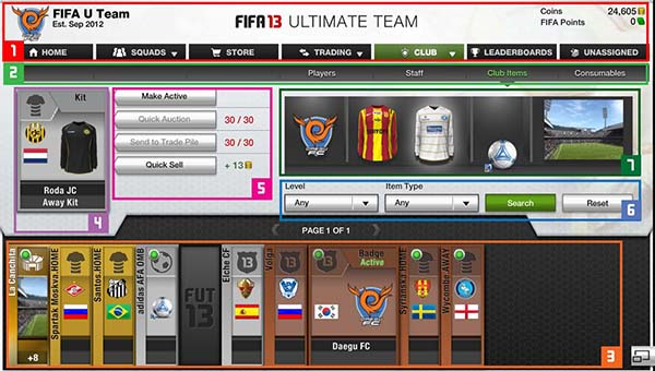 FUT 13 Web App - Club Items
