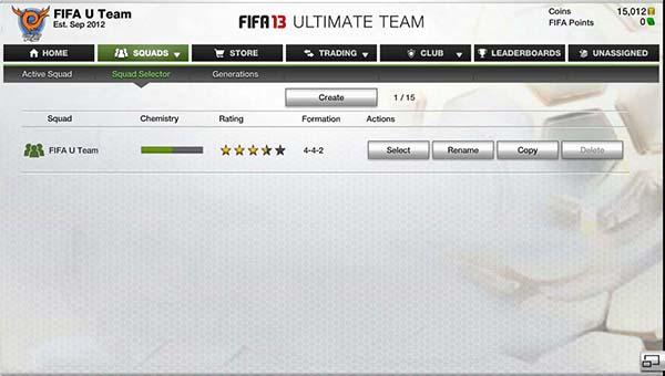 FUT 13 Web App - Team Selector