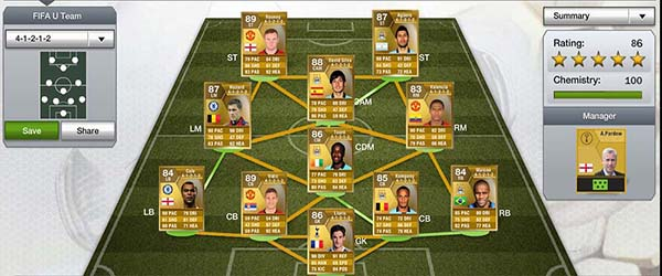 FIFA 13 Ultimate Team Barclays PL Gold Squad