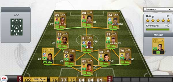 FIFA 13 Ultimate Team Brazilian Squad - 65k Coins Budget