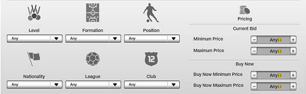 FUT 13 WishList - Search Filters