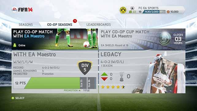 FIFA 14 Seasons Mode