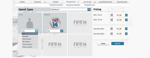 FIFA 14 Ultimate Team Staff Search