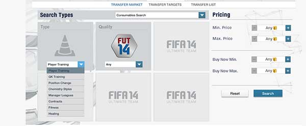 Consumíveis para FIFA 14 Ultimate Team