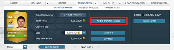 FIFA 14 Ultimate Team Market