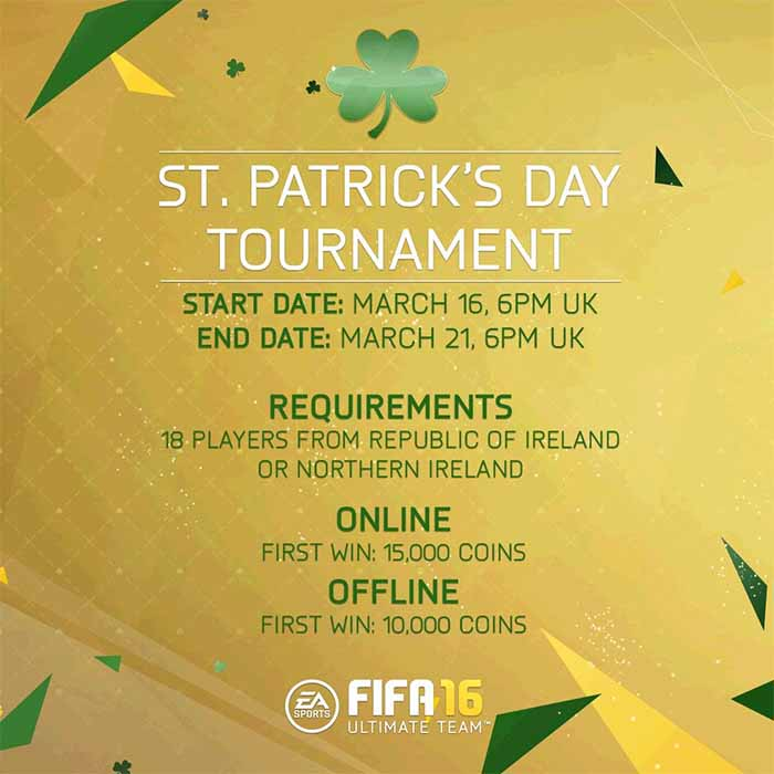 St. Patrick's Day Cards of FIFA 16 Ultimate Team