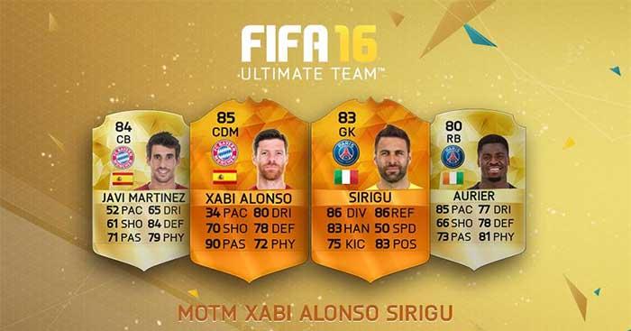 Todas as Cartas Man of the Match (MOTM) de FIFA 16