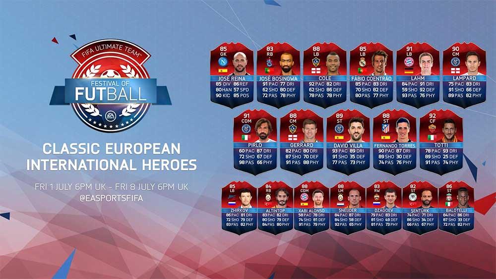 Heróis Clássicos Internacionais em FIFA 16