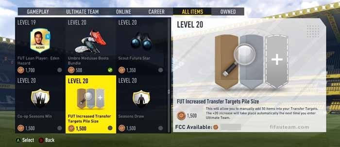 Itens do Catálogo EAS FC para FIFA 17 Ultimate Team