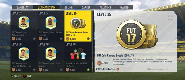 FIFA 17 Catalogue Items for FIFA 17 Ultimate Team