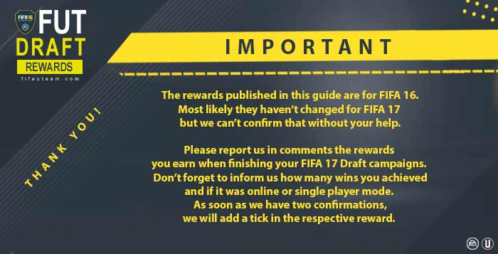 FUT Draft Rewards for FIFA 17 Online and Single Player Modes