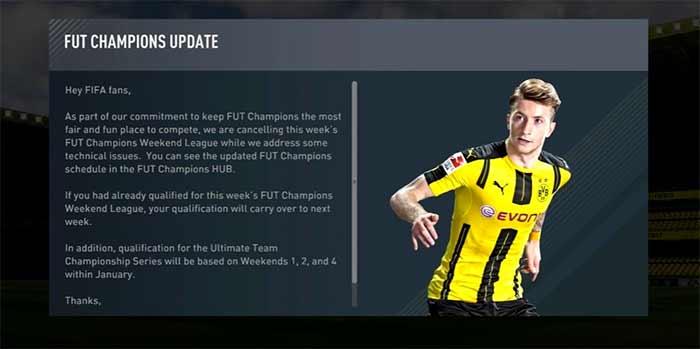 Ronda 16 da Weekend League de FIFA 17 foi Cancelada