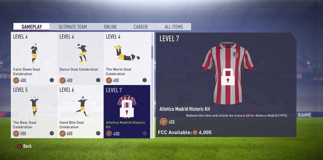 Itens do Catálogo EAS FC para FIFA 18 Ultimate Team