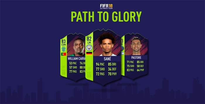 Cartas de Jogadores para FIFA 18 Ultimate Team - Cartas Path to Glory