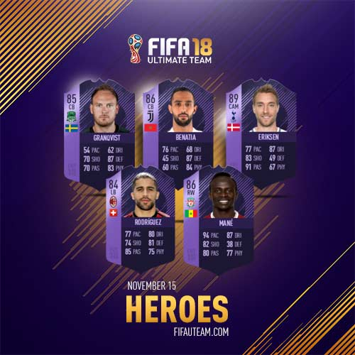 FIFA 18 Heroes Cards List