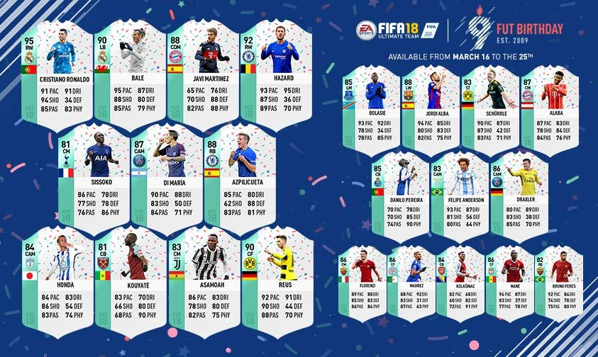 Os Jogadores do FUT Birthday para FIFA 18 Ultimate Team