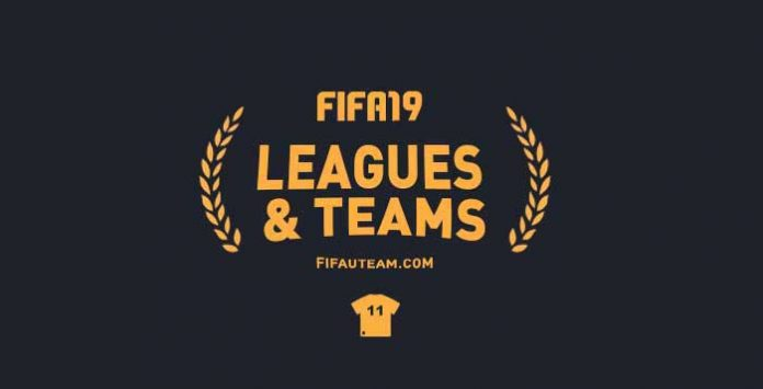 FIFA 19 Leagues, Clubs and National Teams List