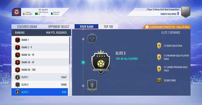 Squad Battles para el Ultimate Team en FIFA 19