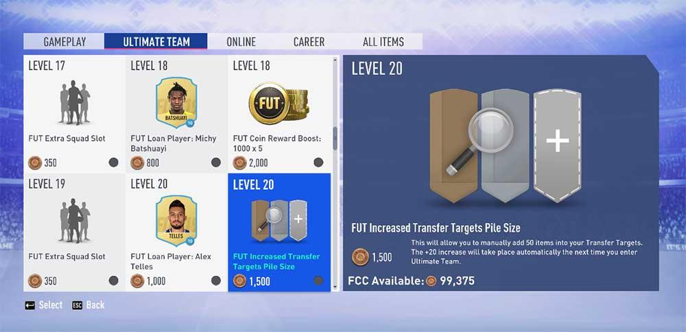 Itens do Catálogo EAS FC para FIFA 19 Ultimate Team