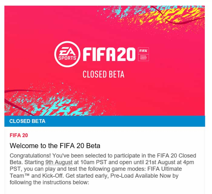 FIFA 20 Closed Beta Email